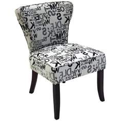 Inverted Alphabet Gray Club Chair