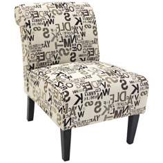 Inverted Alphabet Cream Club Chair