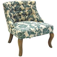 Ikat Slate Button Tufted Club Chair