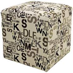 Alphabet Cream Fabric Cube Ottoman