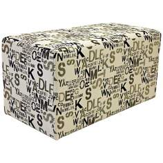 Alphabet Cream Fabric Rectangle Ottoman