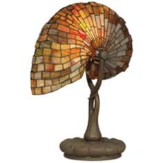 Dale Tiffany Red Nautilus Glass Accent Lamp