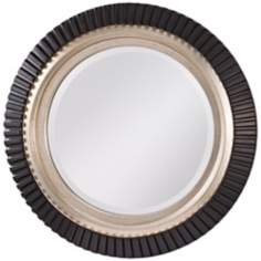 "Murray Feiss Geary 32"" Wide Framed Round Wall Mirror"