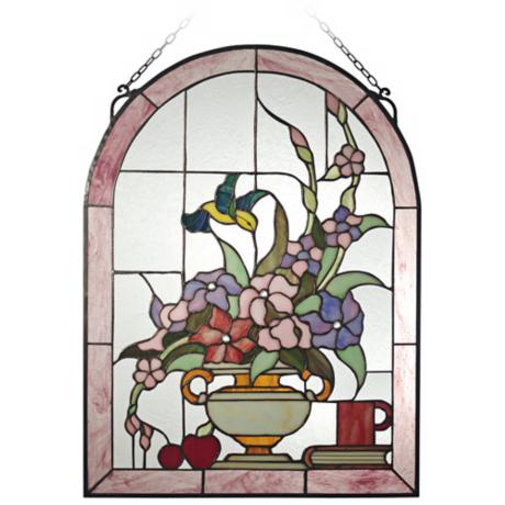 "Dale Tiffany Hummingbird 24"" High Art Glass Window Panel"