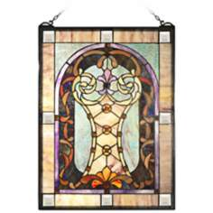 Dale Tiffany Scarberry Art Glass Window Panel