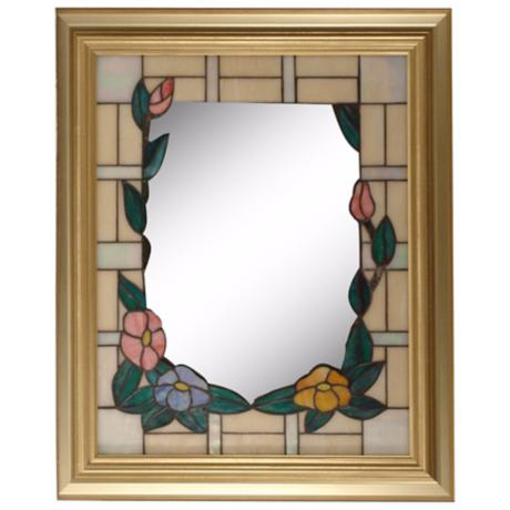"Dale Tiffany Peony Gold 34"" High Art Glass Wall Mirror"