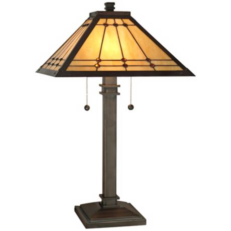 Dale Tiffany Jeweled Mission Mica Bronze Table Lamp