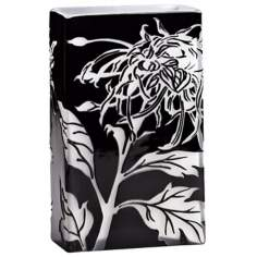 Wild Dandelion Small Black and White Glass Vase