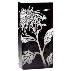 Wild Dandelion Medium Black and White Glass Vase