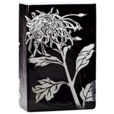 Wild Dandelion Large Black and White Glass Vase