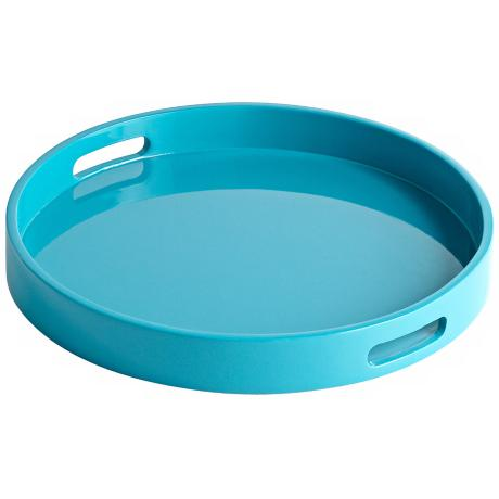 Estelle Teal Small Round Wood Tray
