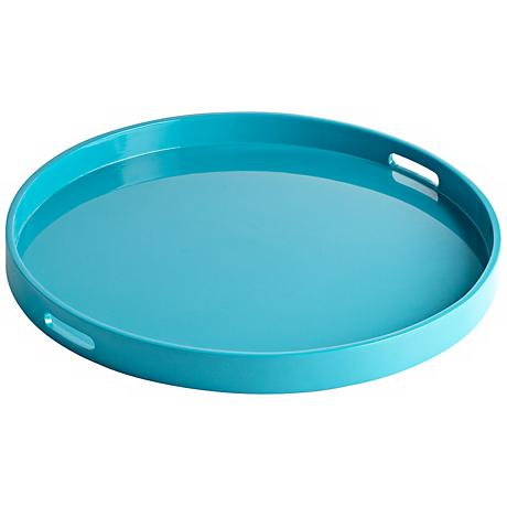 Estelle Teal Large Round Wood Tray