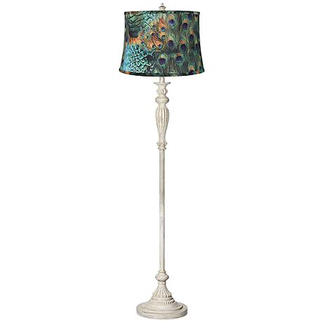 Peacock Print Shade Shabby Chic Antique White Floor Lamp