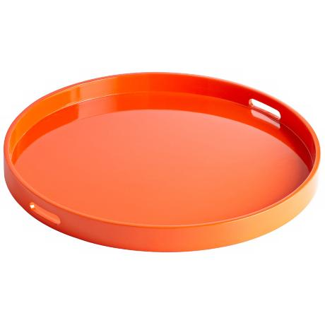 Estelle Orange Large Round Wood Tray