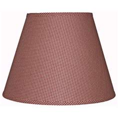 Burgundy Tan Mini Check Lamp Shade 6x10x7.75 (Clip-On)