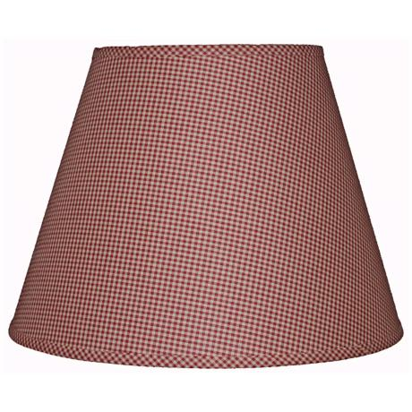 Burgundy Tan Mini Check Lamp Shade 6x12x8 (Clip-On)