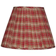 Red Tan and Green Plaid Pleated Shade 6x12x8 (Clip-On)