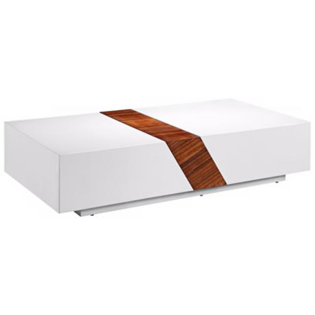 Kipling White and Walnut Coffee Table