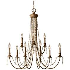 "Murray Feiss Aura 32 3/4"" Wide Rustic Silver Chandelier"