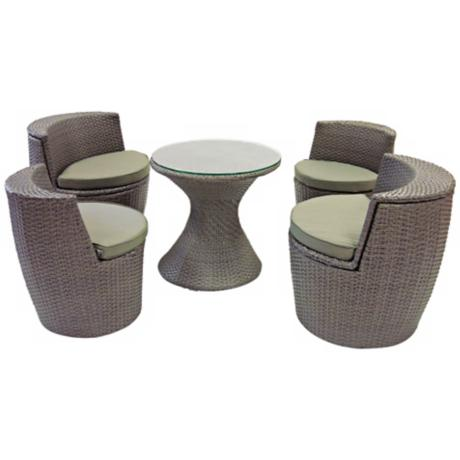 Hudson Grey Rattan 5-Piece Outdoor Dining Set