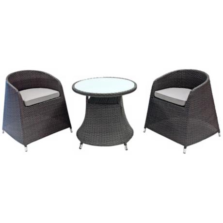 Graham Grey Rattan 3-Piece Outdoor Dining Set