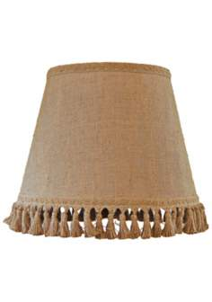 Natural Burlap Tassel Trim Lamp Shade 10x18x13 (Spider)