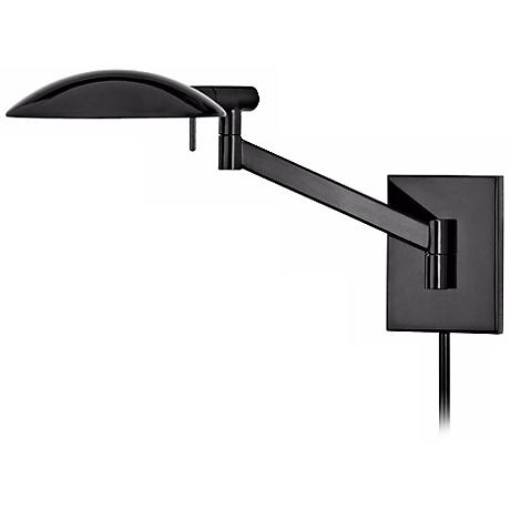 Sonneman Perch Black Brass Plug-In Pharmacy Wall Lamp