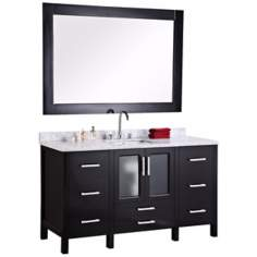 "Stanton Dark Espresso 60"" Undermount Sink Vanity Set"