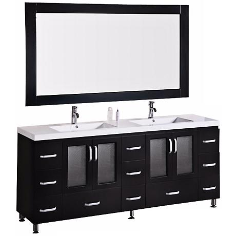 "Stanton Dark Espresso 72"" Drop In Double Sink Vanity Set"