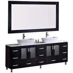 "Stanton Dark Espresso 72"" Vessel Double Sink Vanity Set"