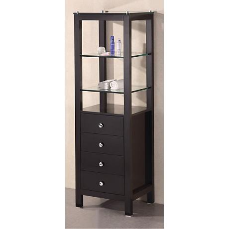 Contemporary Dark Espresso Oak Wood Linen Cabinet
