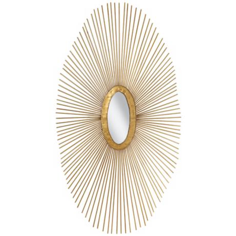 "Gold Sun Ray 37"" High Oval Metal Wall Art"