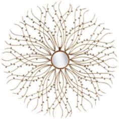 "Dandelion 37 1/2"" Round Gold and Silver Wall Mirror"