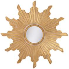 Vela Distressed Gold Sunburst Wall Mirror