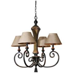"Uttermost Porano 4-Light 29"" Wide Bronze Chandelier"