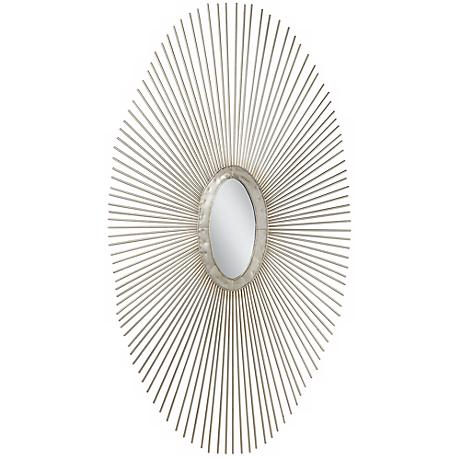 "Silver Sun Ray 37"" High Oval Metal Wall Art"