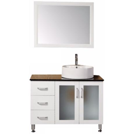 "Malibu White 39"" Wide Modern Bathroom Sink Vanity Set"