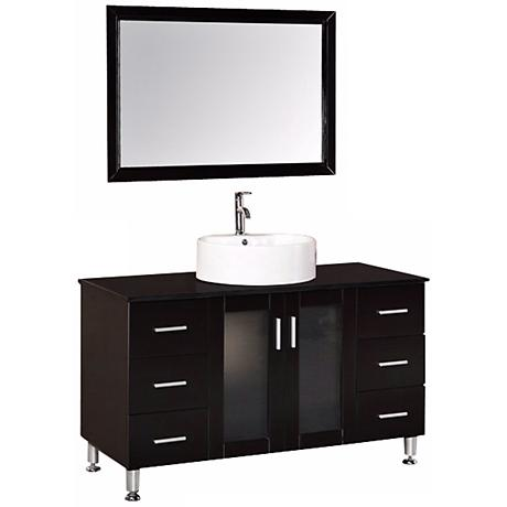 "Malibu Espresso 48"" Wide Modern Bathroom Sink Vanity Set"