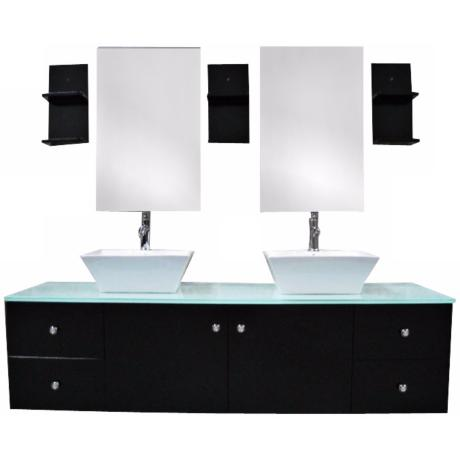 "Portland Espresso 61"" Wide Double Sink Floating Vanity Set"