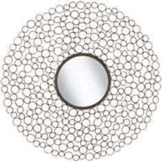 "Dotty Openwork Circles 30"" Wide Round Wall Mirror"