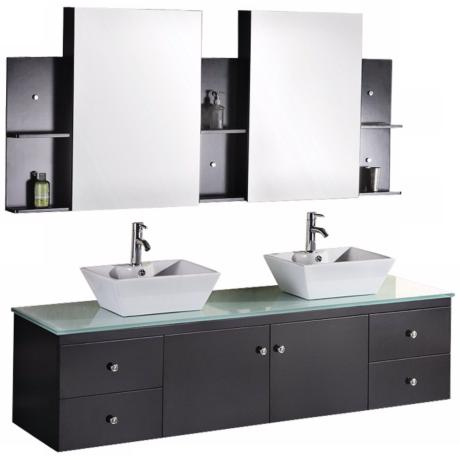 "Portland Espresso 72"" Wide Double Sink Floating Vanity Set"