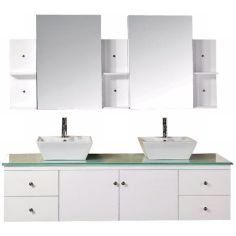 "Portland White 72"" Wide Double Sink Floating Vanity Set"