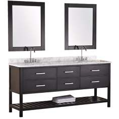 "London 72"" Wide Espresso Marble Double Sink Vanity"