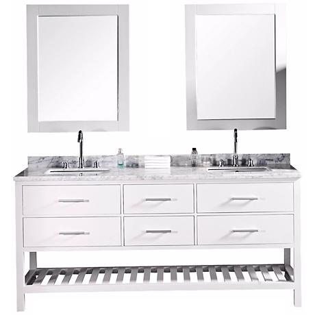 "London 72"" Wide White Marble Double Sink Vanity"