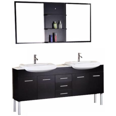 "Tustin Espresso 72"" Wide Double Sink Vanity Set"