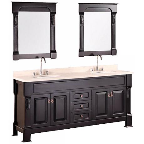 "Andover 72"" Espresso Double Sink Vanity Set"
