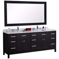 "London 78"" Wide Marble Espresso Double Sink Vanity"