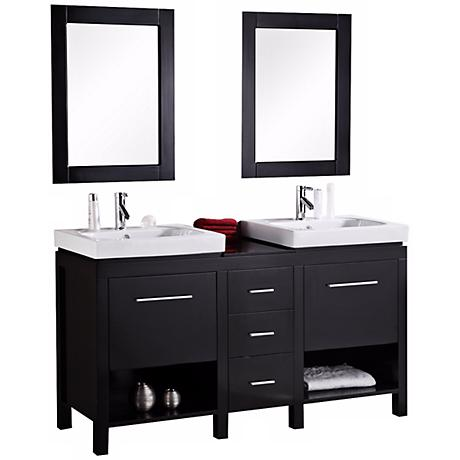 "New York Espresso 60"" Contemporary Bathroom Vanity Set"