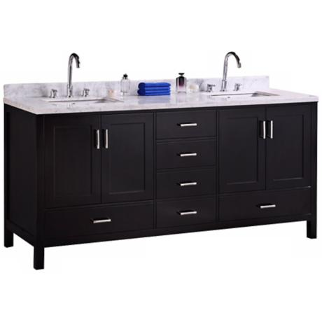 "London 72"" Wide Marble Espresso Double Sink Vanity"