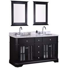 "Imperial 60"" Black Double Sink Vanity Set"